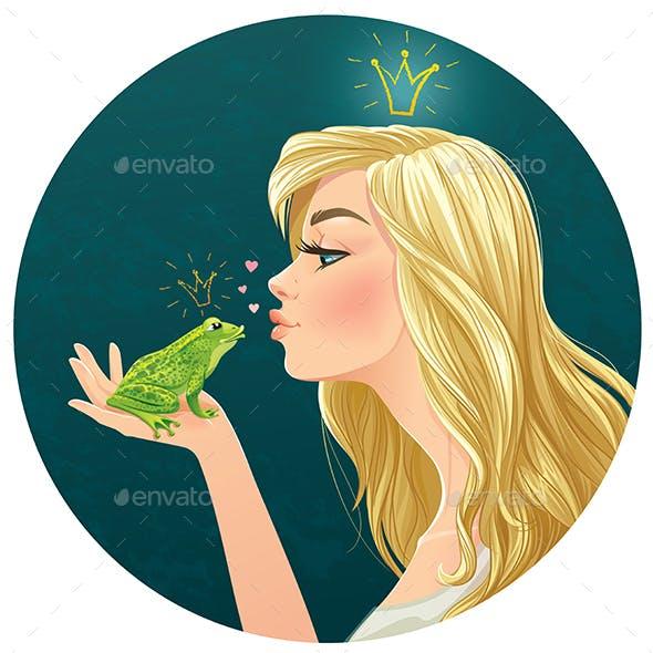Lady Kisses a Frog