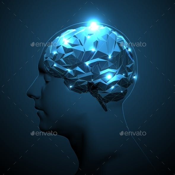 Human Head Silhouette with Active Brain