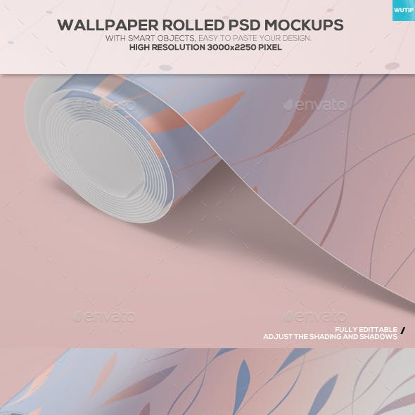 Wallpaper Rolled PSD Mockups