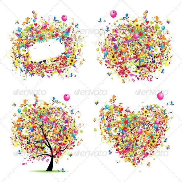 Holiday style - tree, frame, bouquet, heart - Birthdays Seasons/Holidays