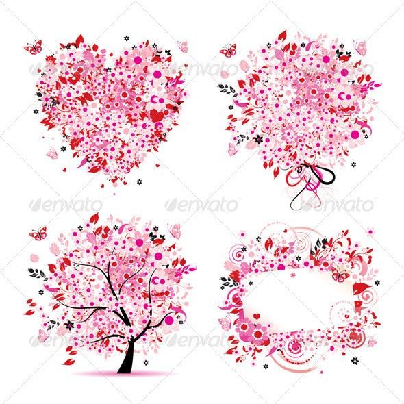 Summer style - tree, frame, bouquet, heart