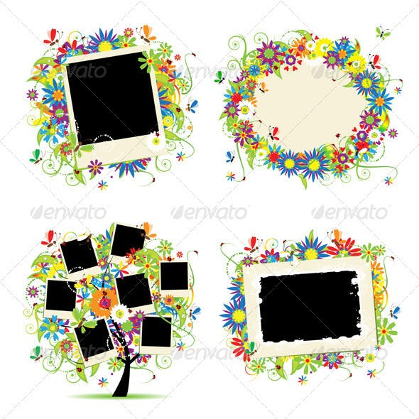 Family album. Floral tree with frames.