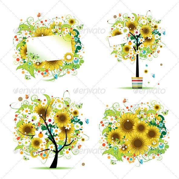 Summer style - tree, frames, bouquet