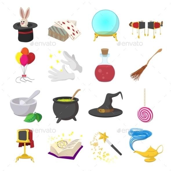 Magic Cartoon Icons Set