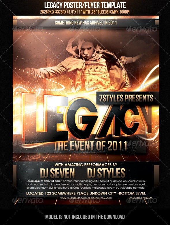 Legacy Poster/Flyer Template - Clubs & Parties Events