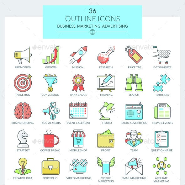 Outline Icons Business and Marketing (Color)
