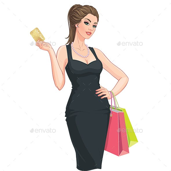 Young Woman with Shopping Bags and Discount Card