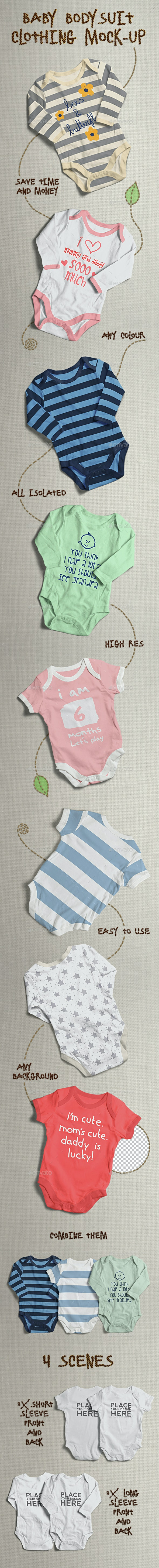 Baby Bodysuit Clothing Mock-up - Miscellaneous Apparel
