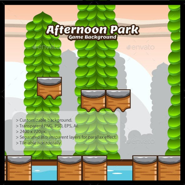 Afternoon Park Game Background with Tiles