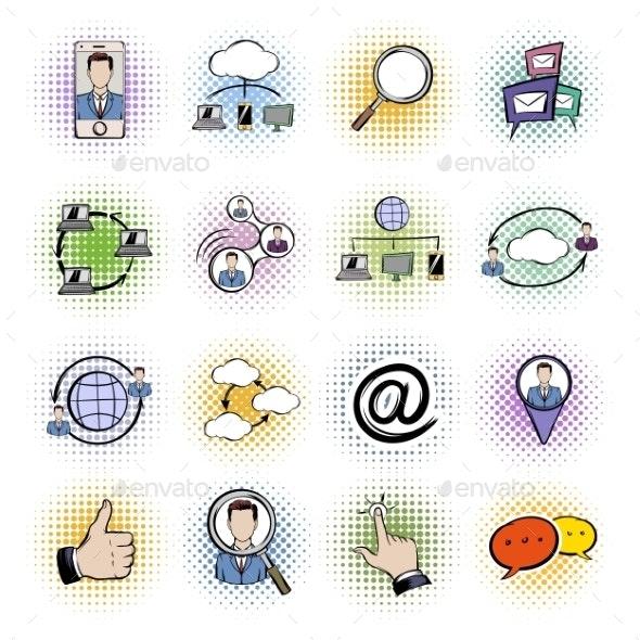 Social Network Comics Icons Set