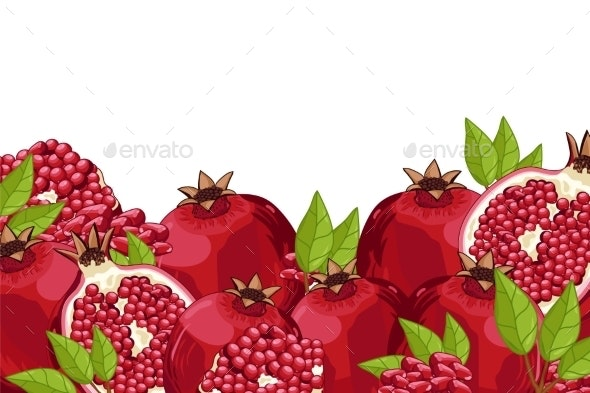 Pomegranate Composition Isolated - Food Objects