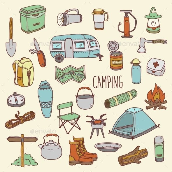 Camping Hand Drawn Colorful Icon Set