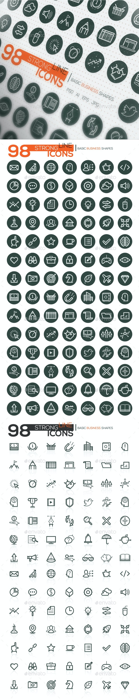 Strong Line Icons For Business And SEO - Business Icons