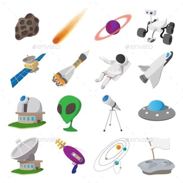 Space Cartoon Illustrations Set