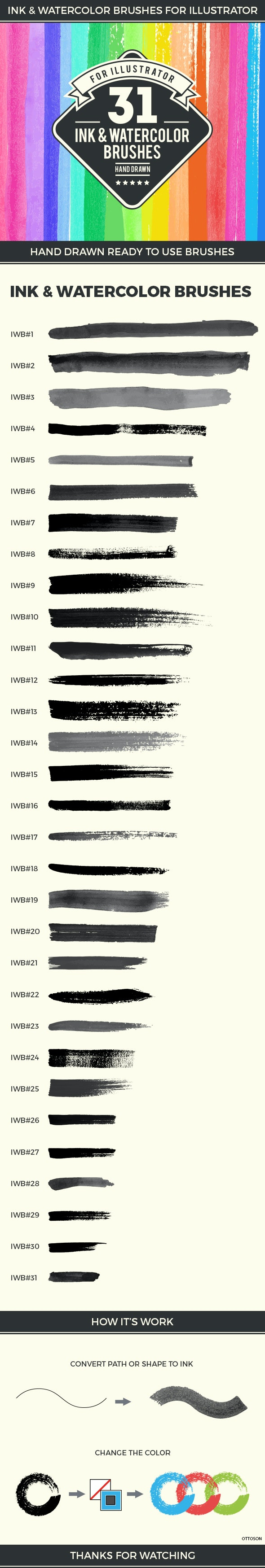 31 Ink and Watercolor Brushes - Brushes Illustrator