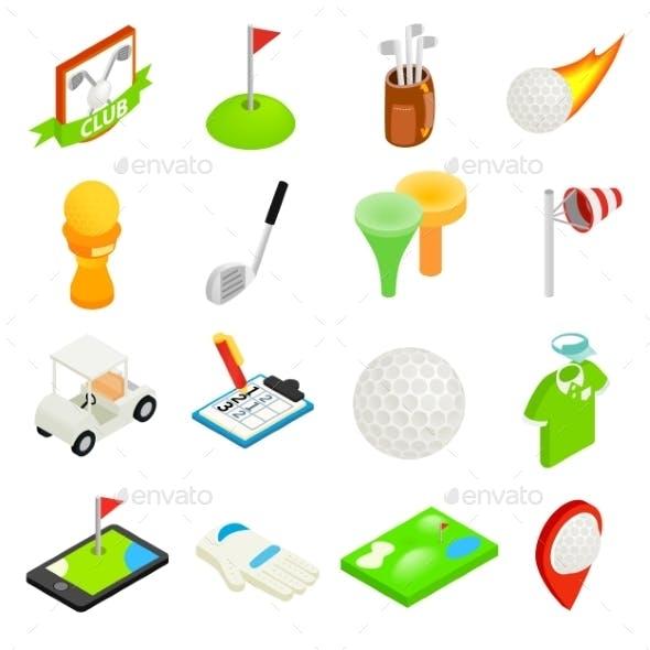 Golf Isometric 3d Icon Set