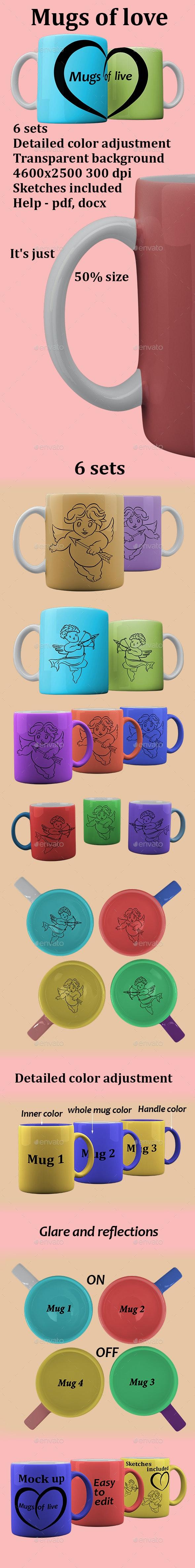 Mugs of love Mockup - Food and Drink Packaging