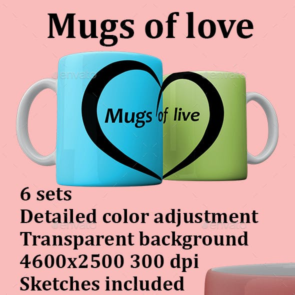 Mugs of love Mockup