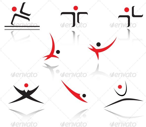 Set of sport people symbols - Sports/Activity Conceptual