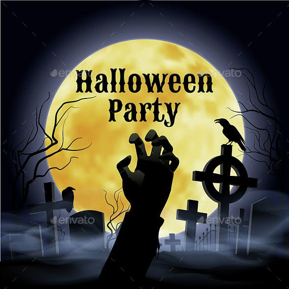 Halloween Party on a Spooky Graveyard