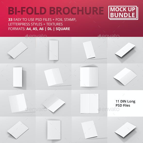 Bi-Fold Brochure Mock-Up Bundle