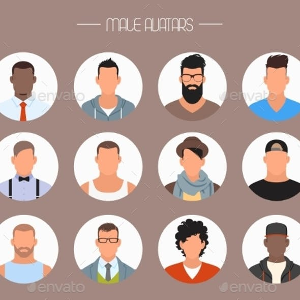 Male Avatar Icons Vector Set.