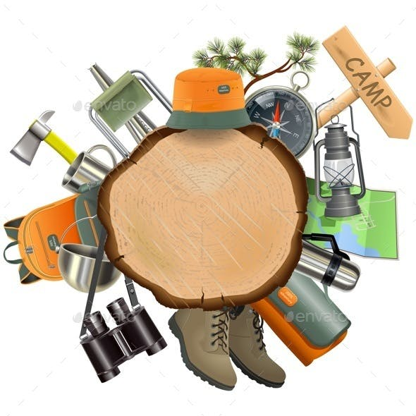 Vector Wooden Board with Camping Accessories