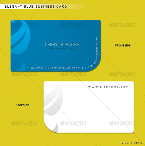 Elegant Blue Business Card - Corporate Business Cards