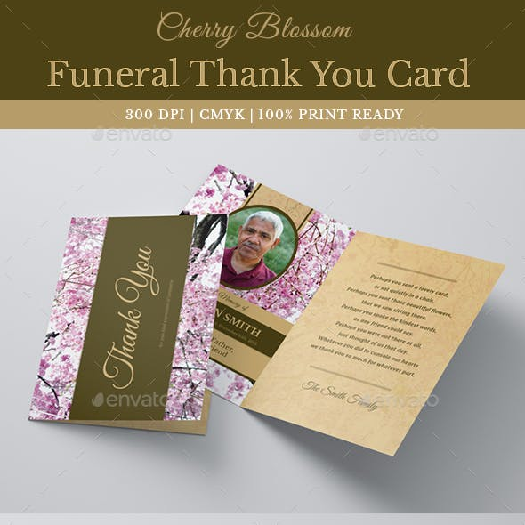 Cherry Blossom Funeral Thank You Card Template