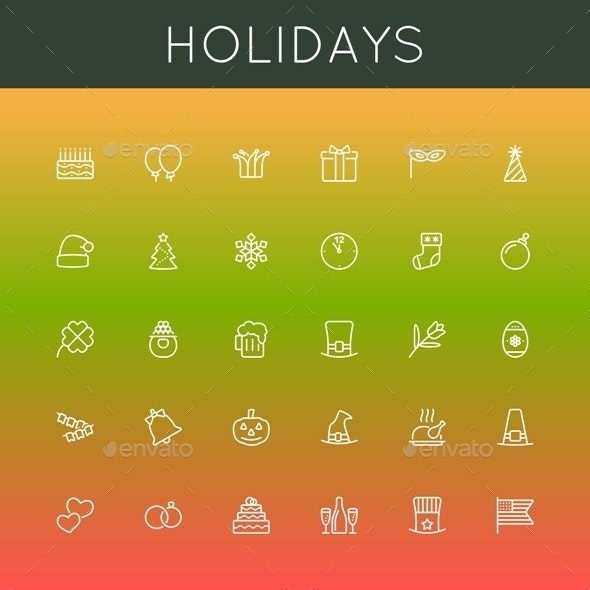 Vector Holidays Line Icons