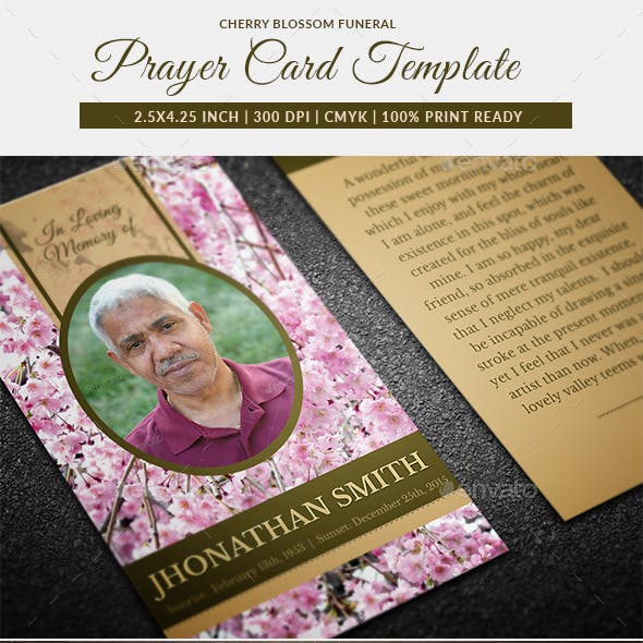 Cherry Blossom Funeral Prayer Card Template