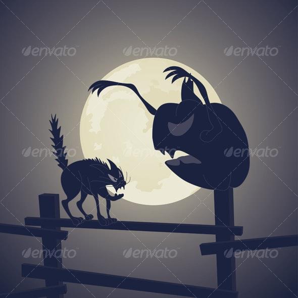 Black Cat vs Dark Pumpkin - Halloween Seasons/Holidays