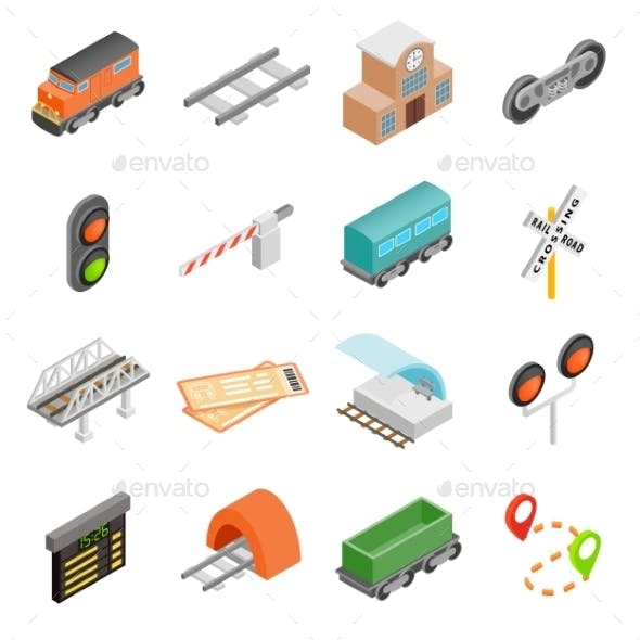 Railroad Isometric 3d Icons