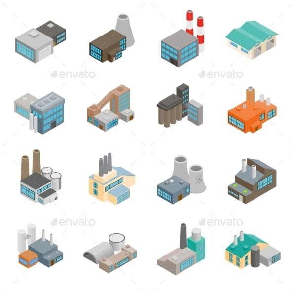 Industrial Building Factory Icons