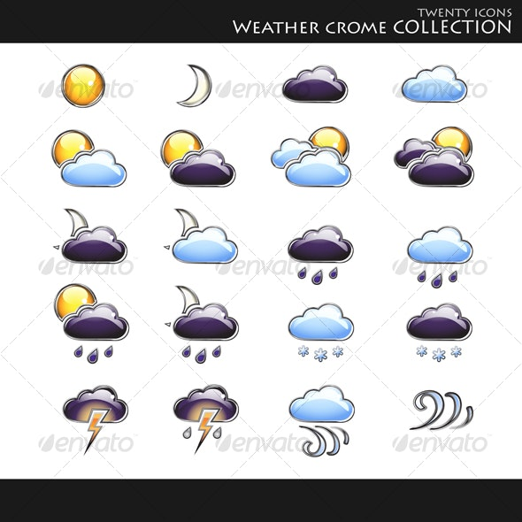 Icons. Weather style collection - Decorative Symbols Decorative