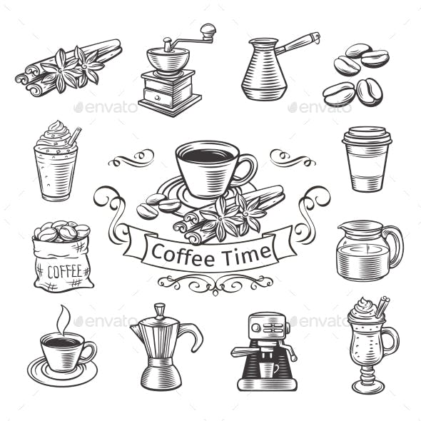 Decorative Coffee Icons Set.