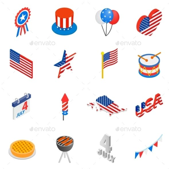Independence Day Isometric 3d Icons