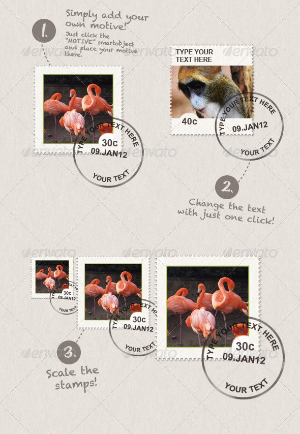 Stamps With Your Own Motive and Text - Objects Illustrations