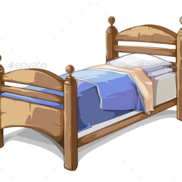 Wood Bed In Cartoon Style. Vector Illustration