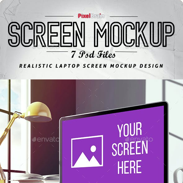 Realistic Laptop Screen Mockup Design - 7 PSD