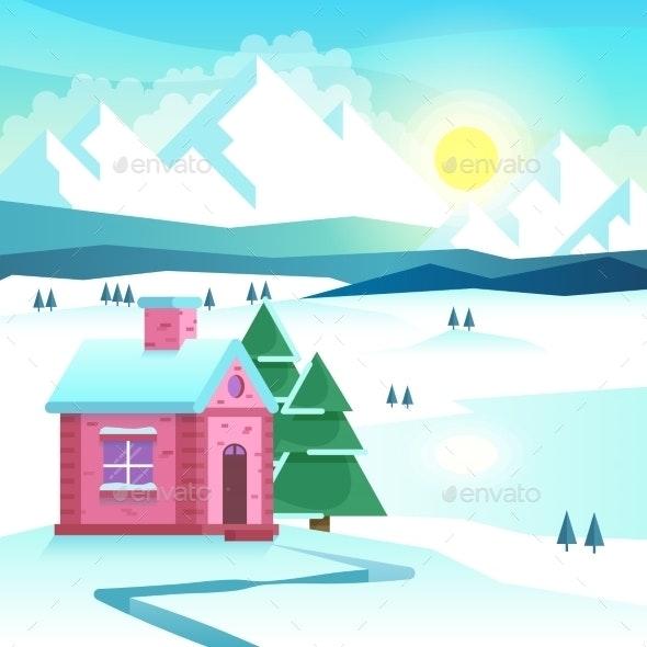 Winter Mountain Landscape. Vector Illustration