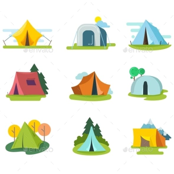 Tourist Tents Vector Set In Flat Style