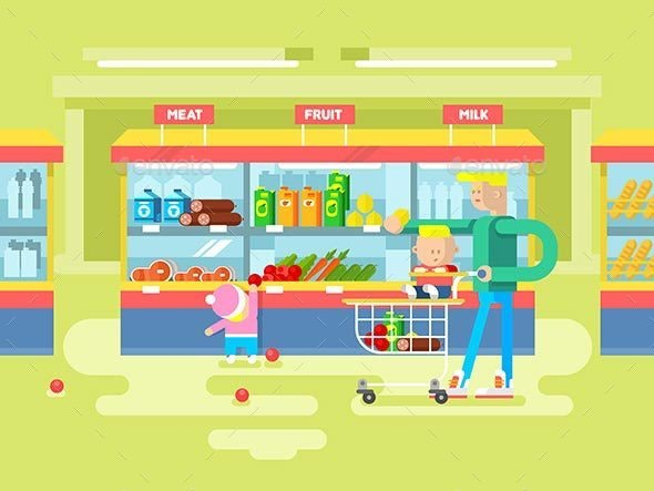 Supermarket Design Flat - People Characters