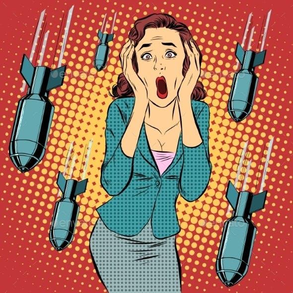 War Bombing Civilian Woman Panic Horror