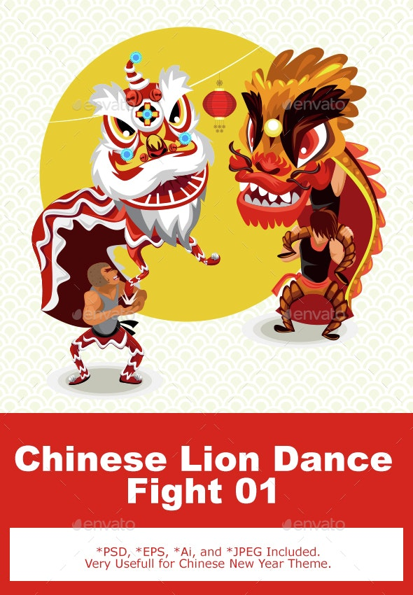 Chinese Lunar New Year Lion Dance Fight - New Year Seasons/Holidays