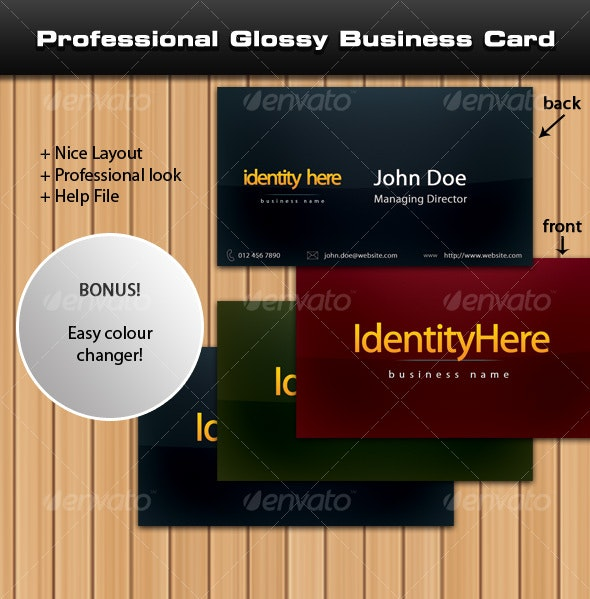 Professional Glossy Business Card - Corporate Business Cards