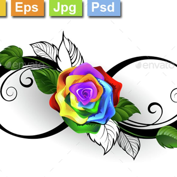 Infinity Symbol with Rainbow Rose