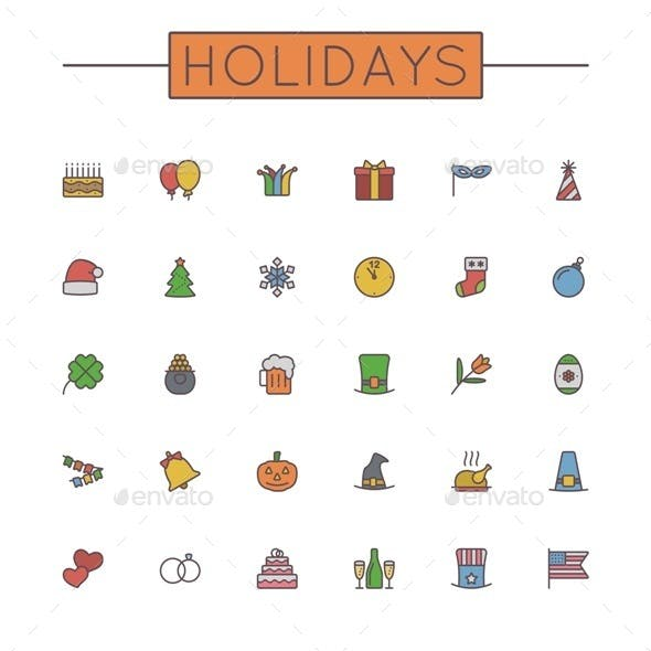 Vector Colored Holidays Line Icons