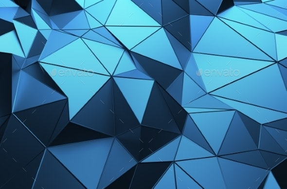 Abstract 3D Rendering Of Low Poly Surface. - Abstract Backgrounds