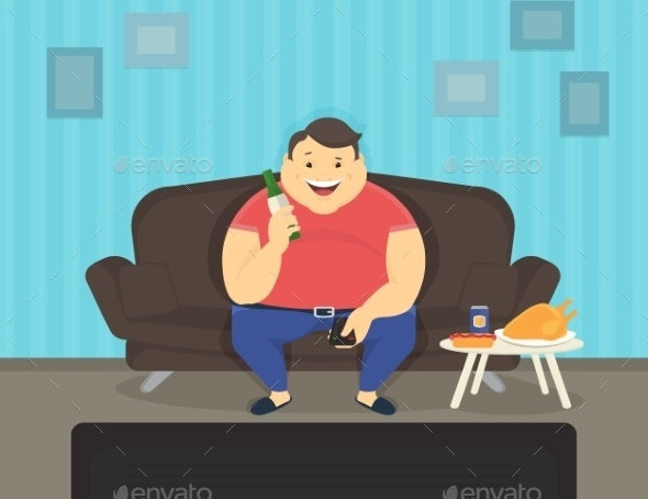 Fat Man Sitting on the Sofa Watching TV - People Characters